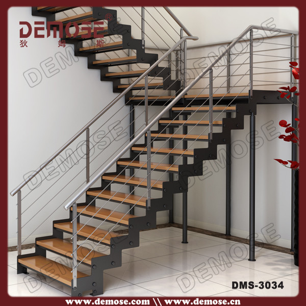 Perfect Residential Steel Stairs/indoor Iron Staircase With Wood Step Price