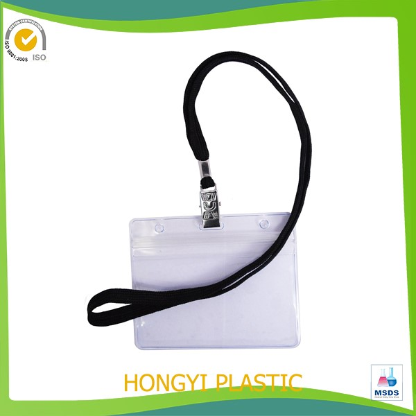 Plastic Badge Holders With Lanyards And Hooks For Name Tag