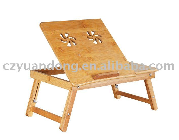 Bamboo laptop table use at bed, portable for lap