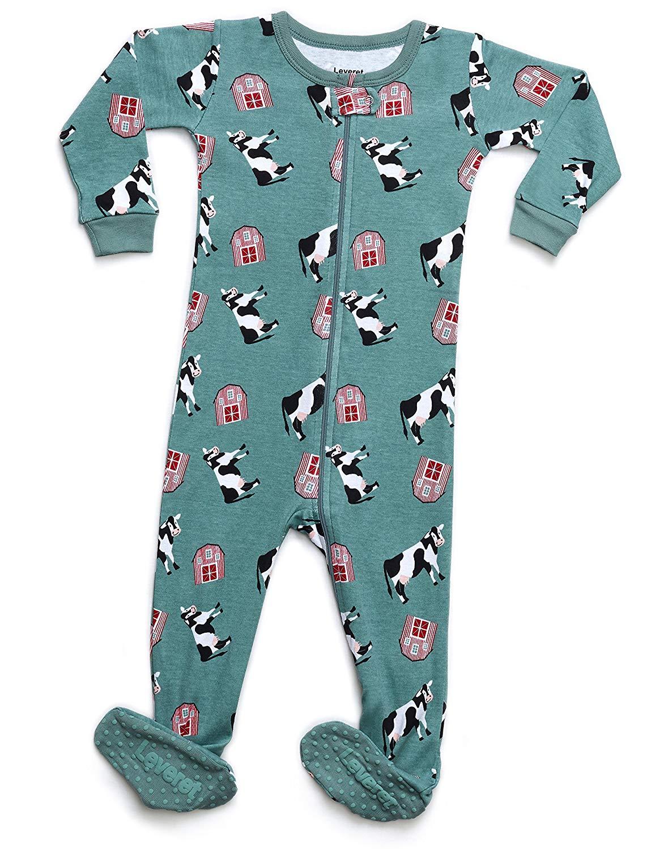 Get Quotations · Leveret Baby Boys Girls Footed Pajamas Sleeper 100%  Organic Cotton Kids   Toddler Pjs Sleepwear ae8962d2c