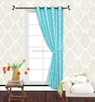 Faux Silk Light Blue Blackout Curtain Panel With Rings - Buy Faux ...
