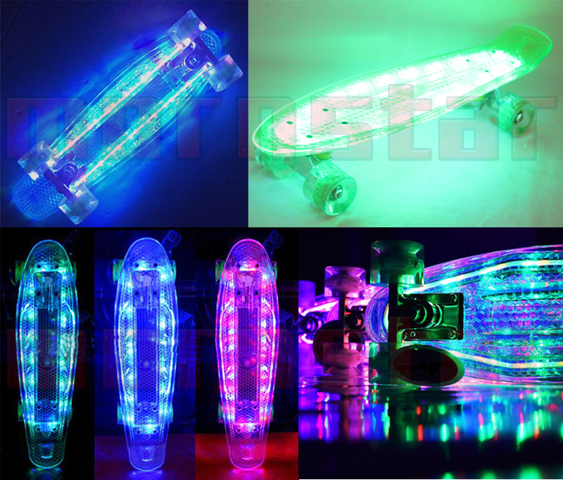 Longboard Cruiser Full Light Up Deck Mini Skateboard LED Flash Outdoor For Kids Teens