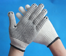 Natural white cotton gloves coated with pvc dots on palm fashion knitted funky gloves