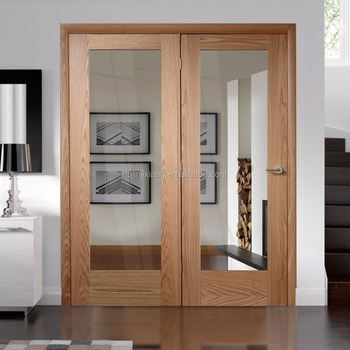 Modern Interior Oak Veneered Wood Door Pair With Clear Glass Inlay