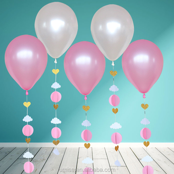 UMISS 6pcs Pink White Gold Birthday Party Supplies Baby Shower Decorations Latex Balloon With