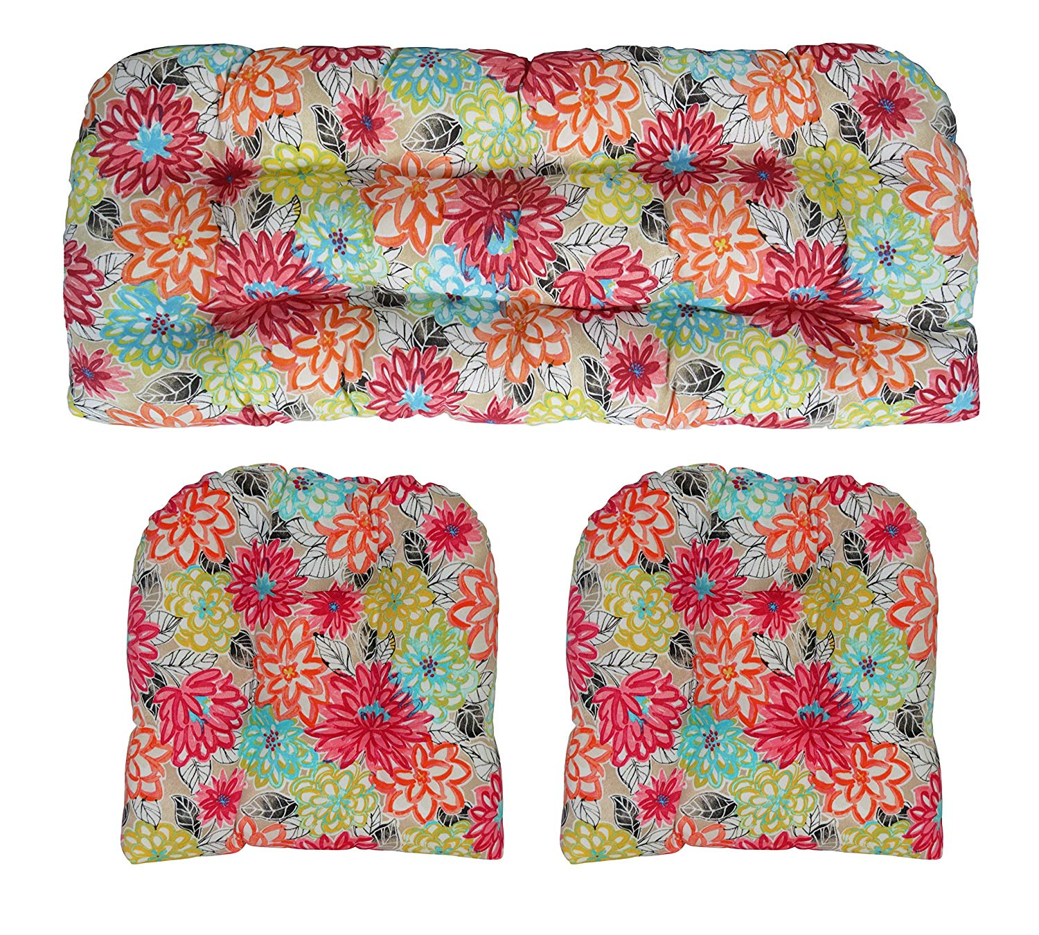 """RSH Décor Indoor Outdoor Floral Large (44"""" x 22"""" & 21""""x 21"""") Wicker Tufted 3 Piece Set 1 - Loveseat Settee & 2 - U - Shape Chair Cushions - Yellow, Orange, Blue, Pink Bright Artistic Floral Cushions"""