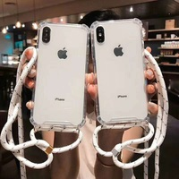 2019 New Factory Transparent Cell Phone Case With Lanyard Necklace Shoulder phone case necklace for iphone 6 7 8 plus x XR XS