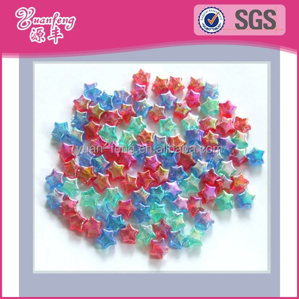 Wholesale beautiful star shape ab rainbow color plastic beads in bulk for decoration