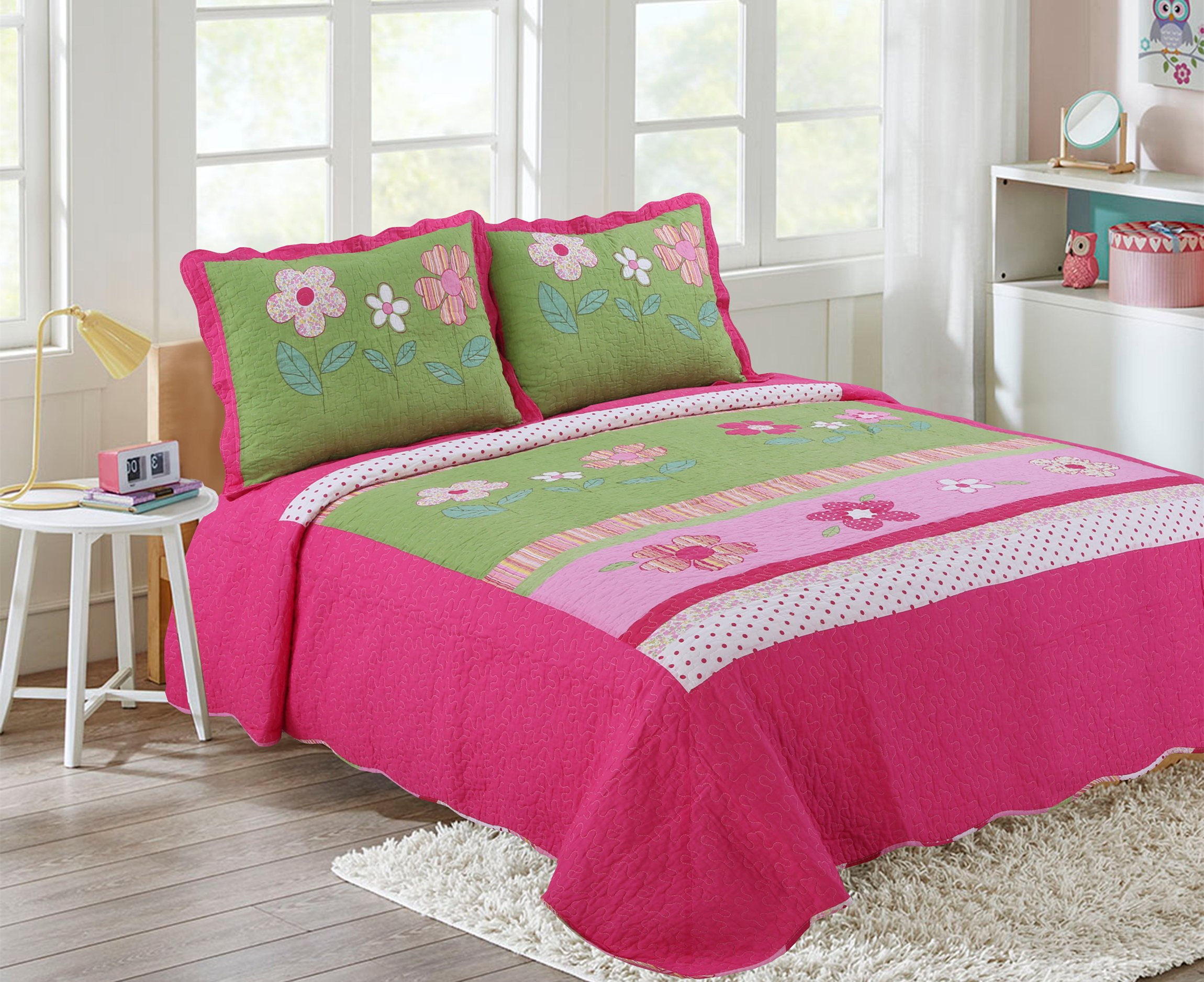 Buy Hnnsi Girls Flower Kids Quilt Bedspread Set Queen Size 3pcs 100 Cotton Girls Comforter Kids Bedding Sets Kids Girls Bed Sheet Sets Queen Pink Floral In Cheap Price On Alibaba Com