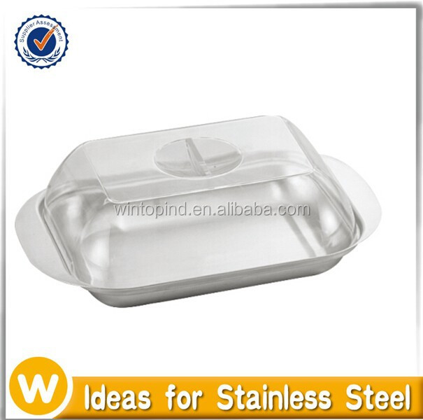 Stainless Steel Butter Dish With Transparent Plastic Cover