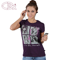 Custom hot sale girls short sleeve fashion beaded logo T shirt