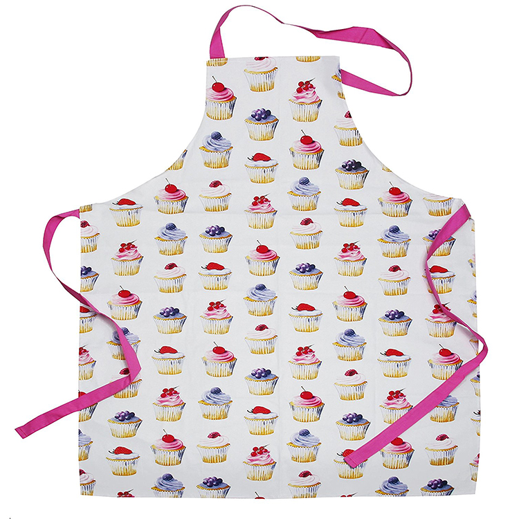 High Quality Cotton Fabric Silk Screen Printing Promotional Kitchen Apron Cupcake Apron Cotton