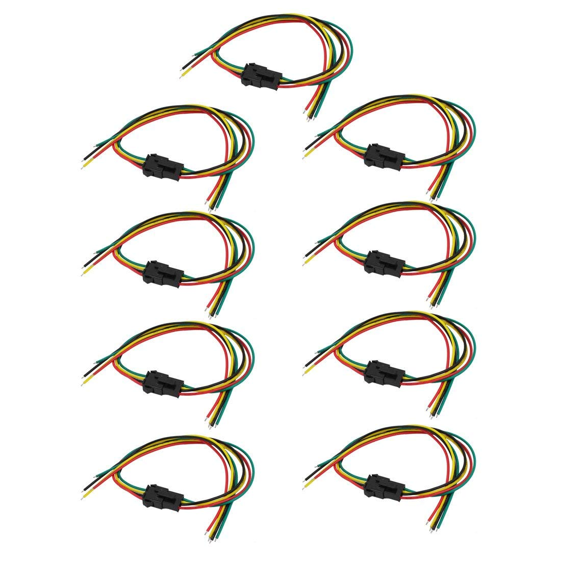 uxcell 9 Pairs SM 4-Terminal Male Female Socket Wire Cable Connector 200mm Length