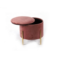 Luxurious Fashion Restaurant Brown Mdf Velvet Fabric Foam Iron Sitting Stool For Storage Box
