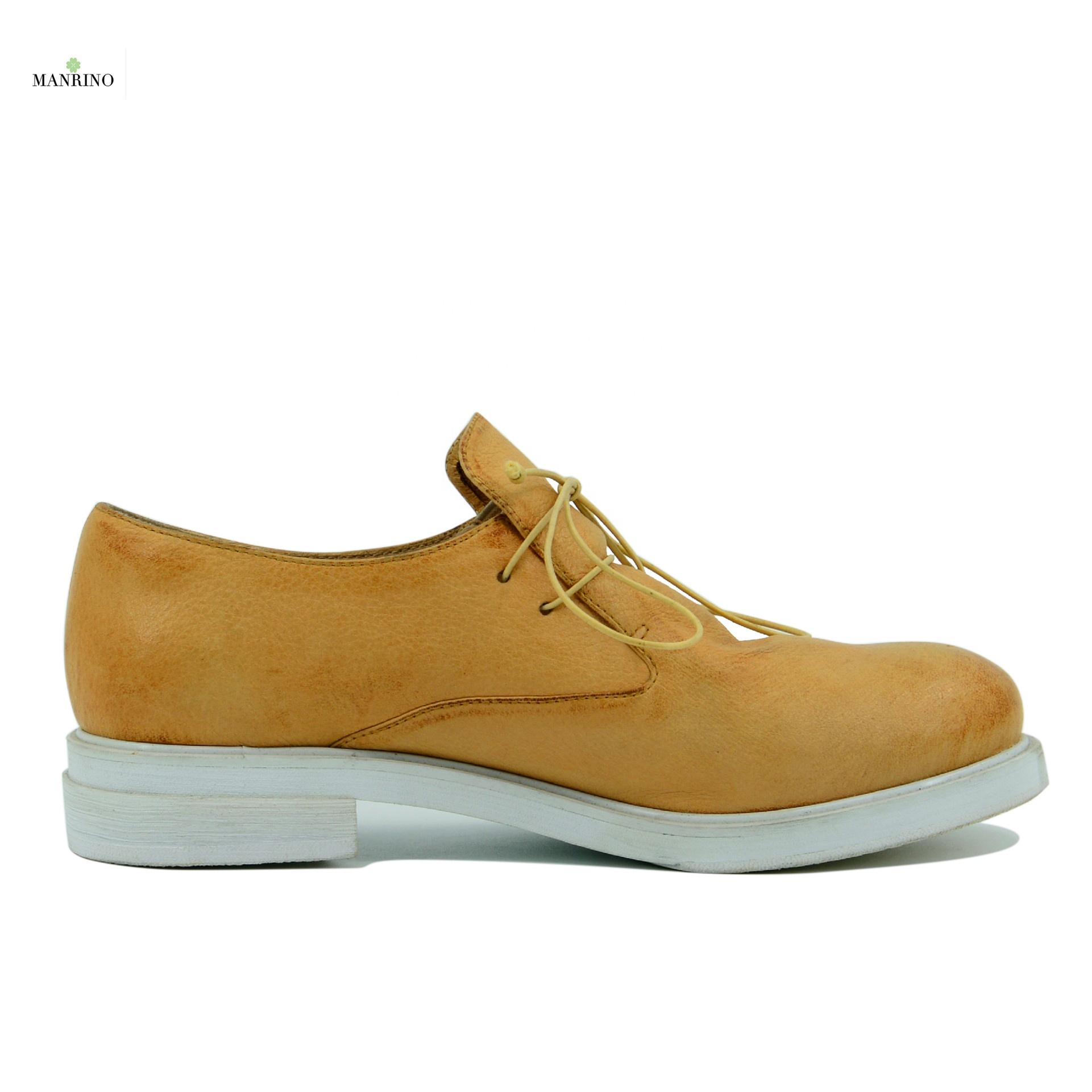 MANRINO-0116 кожаный чехол с текстурой личи масло из коровьей кожи; Высокие туфли на плоском ходу; Подошва из материала на основе хлопка типа «Оксфорд» на шнуровке ручной работы; Женская повседневная кожаная обувь от производителя