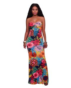 8670 women strapless gown long evening pattern Oil painting dress