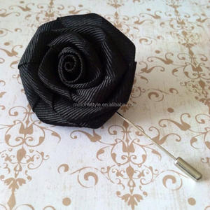 long needle polyester fabric rose flower suits lapel pin men's lapel pins