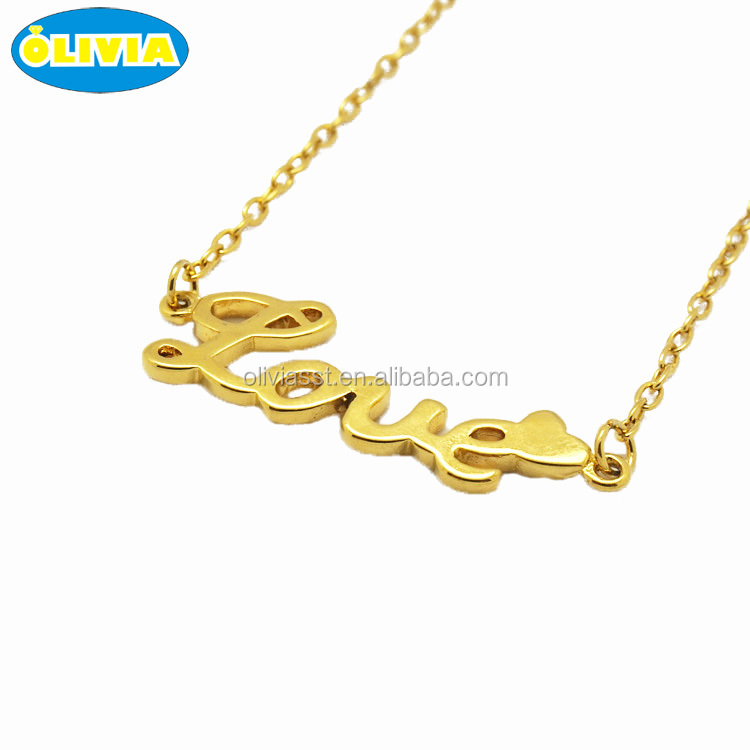 Olivia Fashion Nameplate Jewelry Statement Double Chain Letter Name Necklace Customised Old English Choker