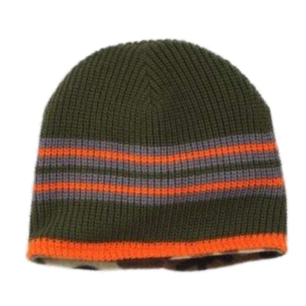 45f9de4e0741f Get Quotations · Ben Berger Boys Reversible Green Knit Beanie Cammo Fleece Stocking  Cap Hat