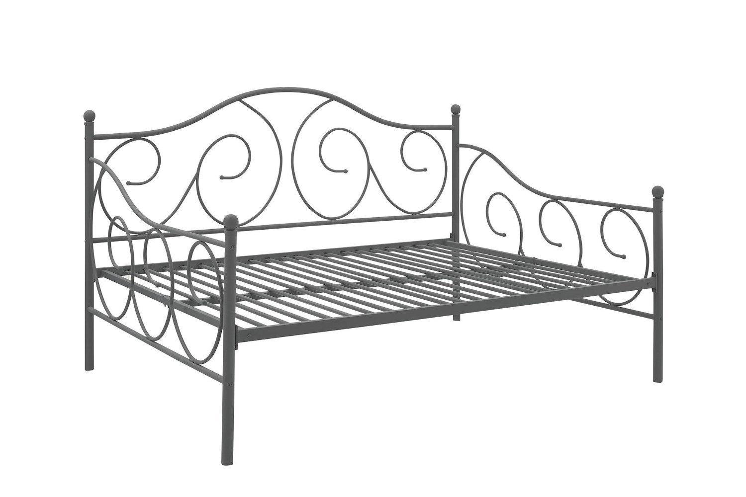 DHP Victoria Daybed Metal Frame, Multifunctional, Includes Metal Slats, Full Size, Pewter