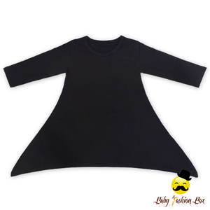 Solid Color Cotton Plain Black Fall Long Sleeve Baby Fashion Dress Cotton Frock Suit Design