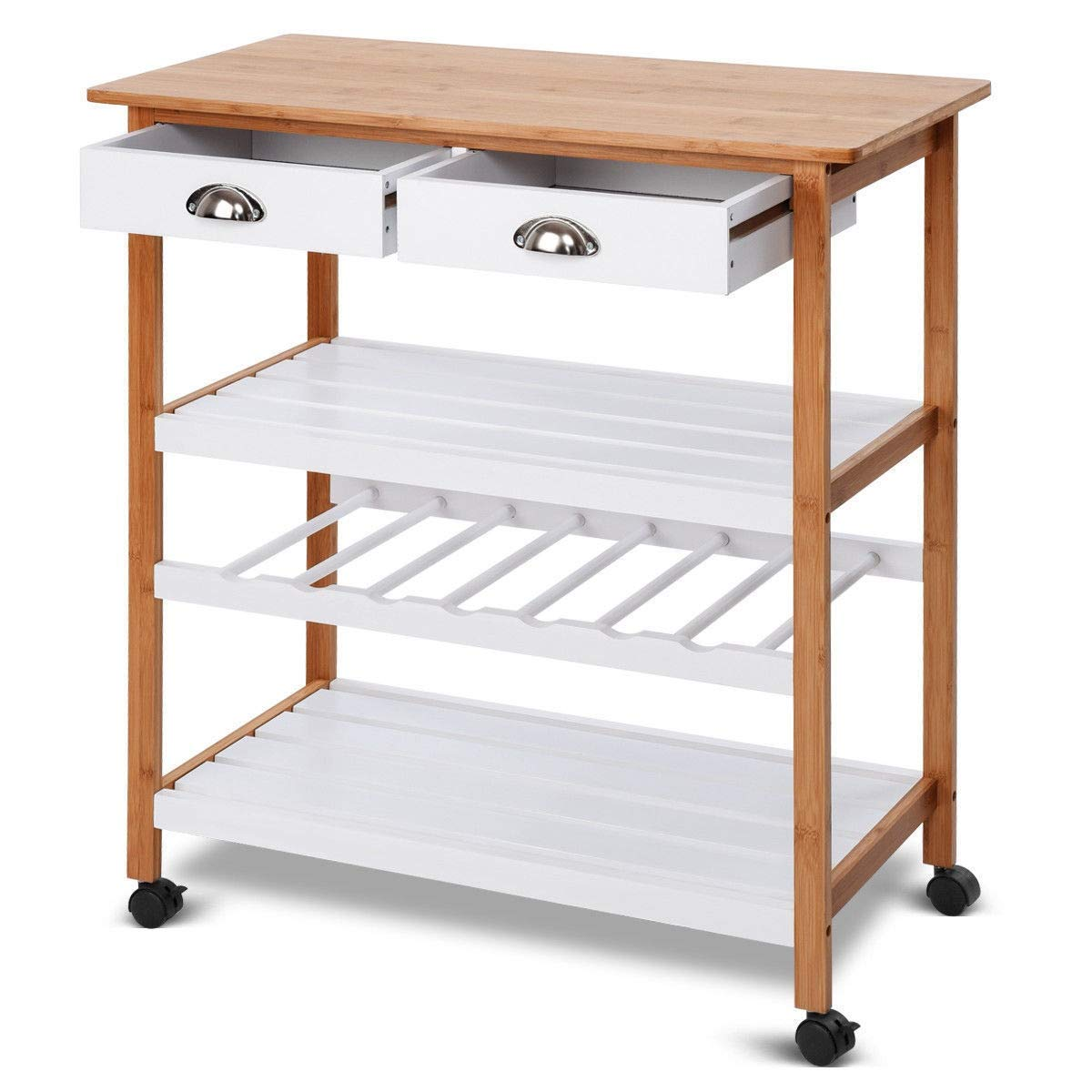 Lapha' Table Shelves 2 Drawer Rolling Portable Storage Bar Kitchen Trolley Food Serving Table Display Cart Side Table Dinner Party Patio Pool Rack Kitchen Office Serving Organizer