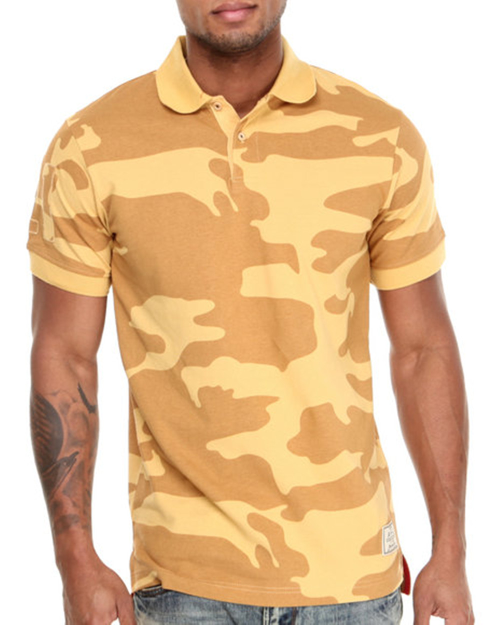 deec5418 Men Yellow Camo Polo Shirt With Two Botton Placket - Buy Camo Polo ...
