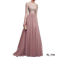 Wholesale cheap plus size formal elegant ball gown long maxi lace champagne coral bridesmaid dresses wedding
