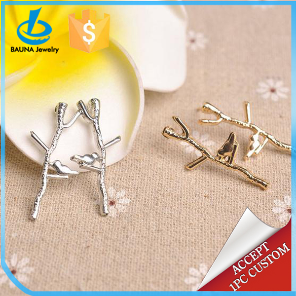 2018 personality simple design forest jewelry gold or silver bird on branch twig earrings for women stud