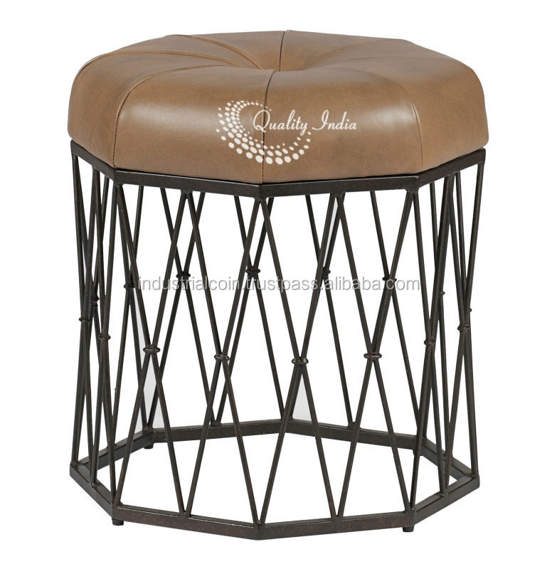 Dana Leather Top Metallic Base Chair