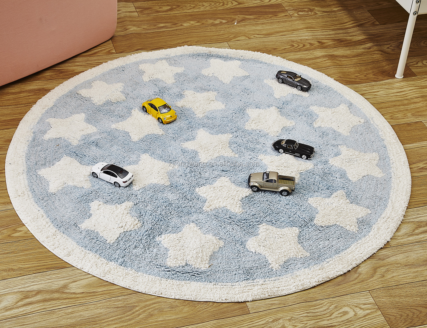 Hot selling stars circular cotton soft fuzzy floor mat baby crawling sleeping rugs paly mat for living room decoration