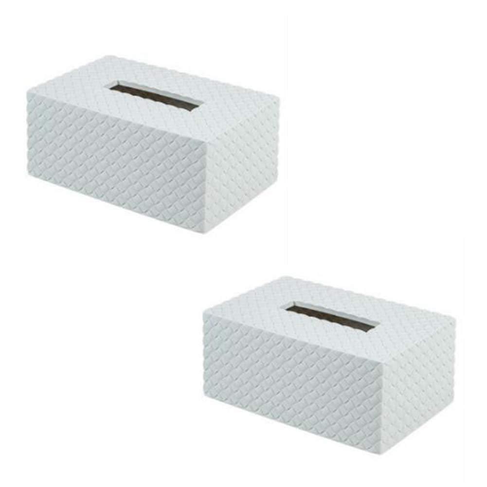 ANQI Rectangular Plastic Napkin Tissue Holder Storage Box Facial Tissue Box Cover Holder Tissue Pumping Paper Case Dispenser 2PCS