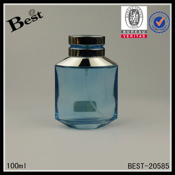 factory price thransparent blue custom glass oud perfume bottle 100ml