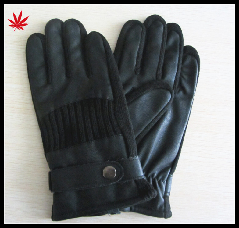 Men's cheap classic leather stitching knitted leather gloves