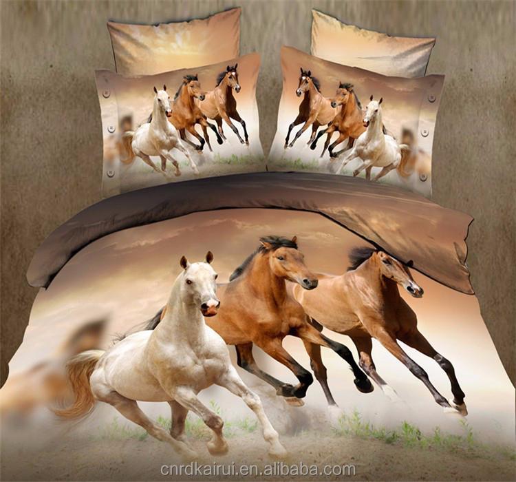 cheval impression linge de lit queen, 4 pc ensemble de literie
