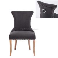 Modern Luxury Metal Ring Back Dark Grey Studded French Dining Room Chair ( YJ-8008)