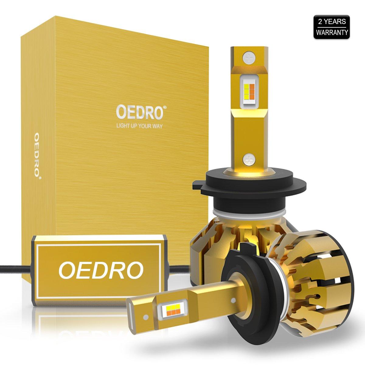 oEdRo LED Headlight Bulbs Conversion Kit Unique Triple Color LED Headlights 9006 Hb4, Upgraded Small Mini Design, Super White 6000K/Amber 3000K Dual Color Led Headlight Bright 8000 Lumens