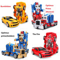 RC Transformation 4 electric Toys one key remote control Optimus prime children robot car action figures