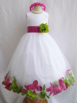 best loved d0888 ba1f7 Vendita Calda Petali Di Rosa Abito Bianco Stile Fucsia E Mela Verde Fiore  Vestito Dalla Ragazza Di Bambino Corteo Vestito Partito Bambini Vestito -  ...