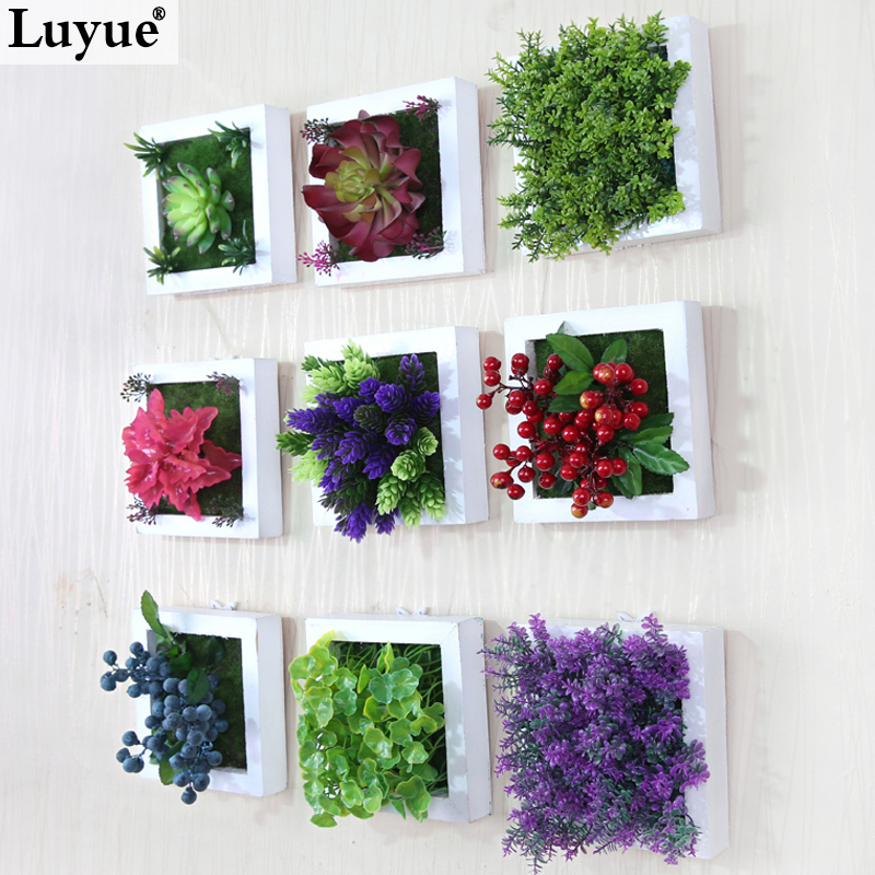 Artificial Flowers Home Decor: New 3D Creative Metope Succulent Plants Imitation Wood