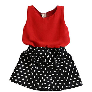 Girls Clothing Sets Cute Red Vest + Dot Bowknot Skirts Two Pieces Set