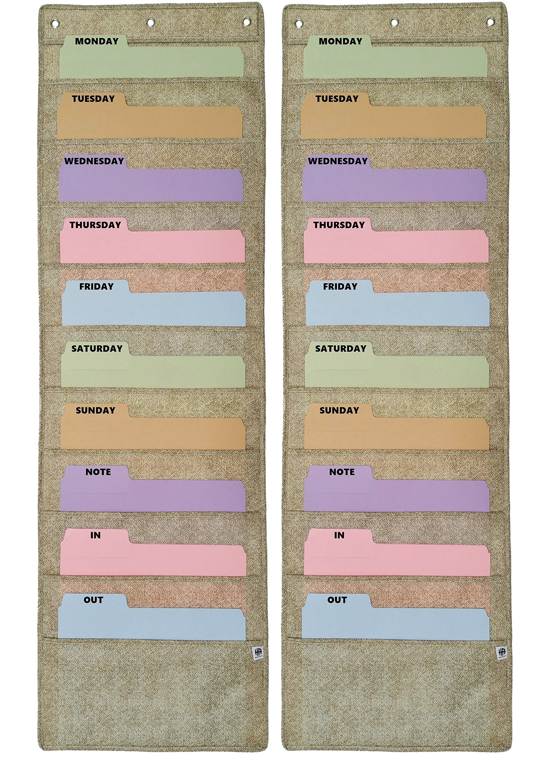 Wall Hanging Pocket Chart, Storage File Folder Organizer, filing holder for Classroom or Teacher, Organizing hanger rack for homework or office supply (2 Pack, Lt Brown)