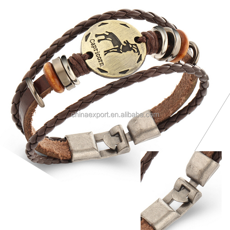 Unisex Punk Style Woven Leather Bracelet Jewelry With Capricorn Pendant