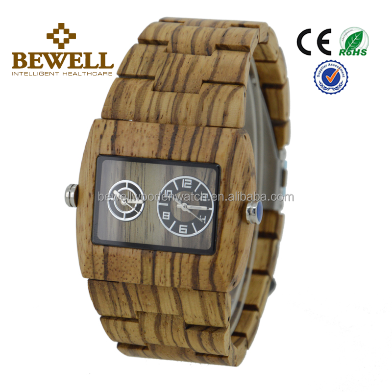 Wood watch manufacturers Bewell or brand your own watches life waterproof mens quartz wrist watch