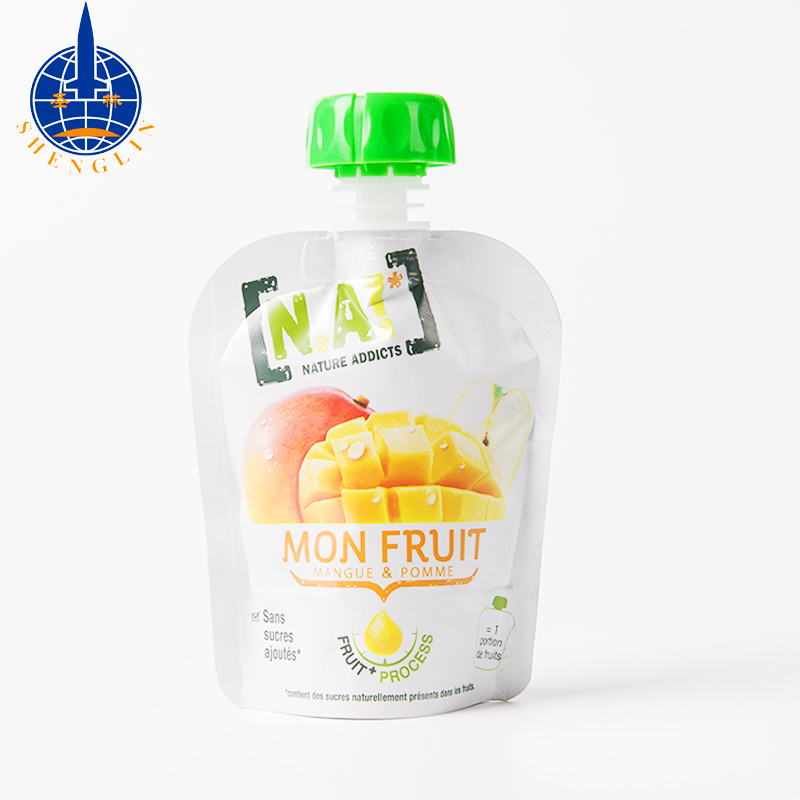 BPA free baby food squeeze pouch with anti-swallow cap fruit juice packaging spout bag