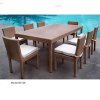 Yizhou rattan modern white Outdoor Furniture restaurant garden hot sale 9-piece wicker dining table and chair set patio