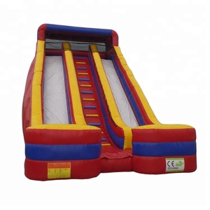 Giant cheap 2 lanes air fun slide bouncer jumping inflatable slide for sale