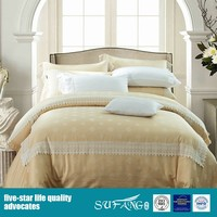 New Arrival Light Yellow Satin Bedding Set With Lace, Queen Bed Sheet, Cotton Bed Linen With Pillow