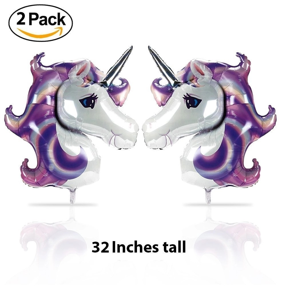 Unicorn Balloons Party Decorations, Favors for Girls & Kids Birthday, Baby Shower Heart Shaped Foil Balloons Helium