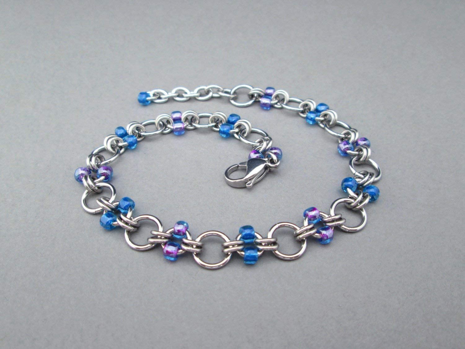 Beaded Anklet, Chainmaille Jewelry, Stainless Steel Jewelry, Chain Anklet Chainmaille Anklet Beaded Ankle Bracelet Blue Anklet Purple Anklet
